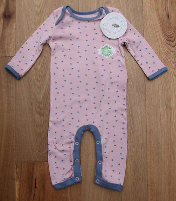 Burt's Bees Baby Girl Non Footed Coverall ~ Pink & Periwinkle ~ Bee Print ~ 3-6M