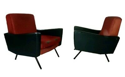 Splendid Pair Mid Century Lounge chairs by Marco Zanuso Italy 1950s