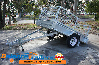 8x5 HotDip Galvanised Fully Welded Tipper Box Trailer With 600mm Removable Cage