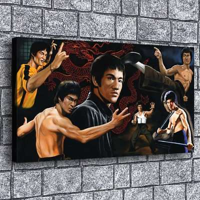 "12""x20""Bruce Lee Poster Painting Print on Canva Home Decor Room Wall Art Picture"