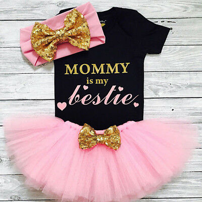 AU 3PCS Newborn Kids Baby Girl Clothes Romper Bodysuit+Tutu Skirt Dress Outfits