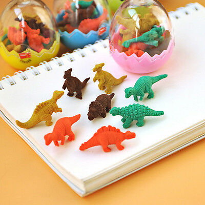 8x Mini Dinosaur  Eggs Pencil Rubber Erasers Students Kids Stationery