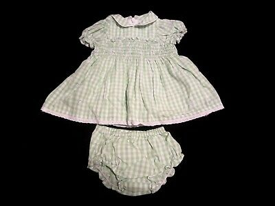 Baby Girls The Children's Place, Green Gingham Two Piece Dress Size 0-3M