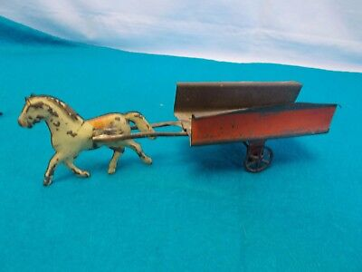 American Tin Horse Drawn Carriage / Surrey Toy ~ Fallows Brown ~ 1880's-1910 #4