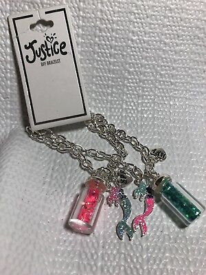 Justice Girls Costume Jewelry Bracelets BFF Mermaid Potion Jar Silver Tone Chain