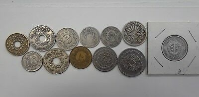 Lot of 12 Old Rare Coins, 1 Lebanese, 11 Syrians including 4 Silver