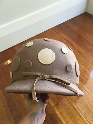 Cute Vintage Brown Cloche Glenover Polkadot Wool Hat - Henry Pollack