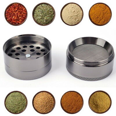 4 Piece Magnetic 2.5 Inch Grey Tobacco Herb Grinder Spice Aluminum With Scoop S