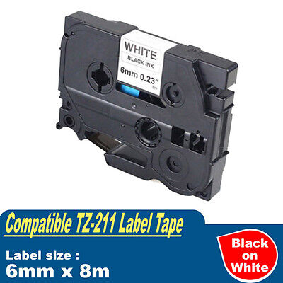 1x Compatible Brother TZe211 TZ-211 P-Touch Black on white Label Tape 6mm x 8m