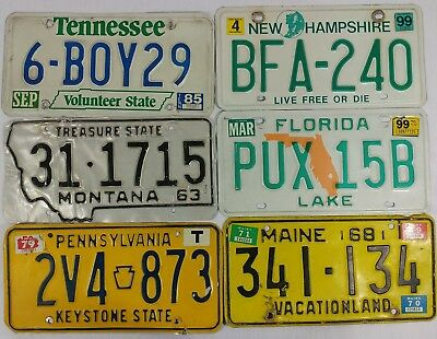 Lot of 5 License Plates Maine Live Free or Die Florida Truck Man Cave Car G1
