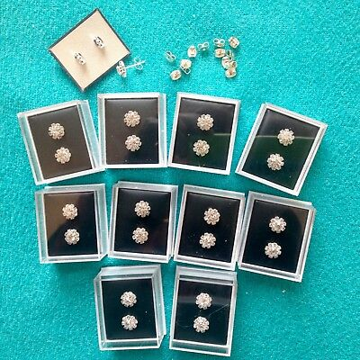 JOBLOT-10 pairs of crystal diamante rosette studs.GIFT BOXED.Silver plated.