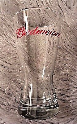 BUDWEISER Beer Clear Red Signature Script Logo Small Pilsner Collector's Glass