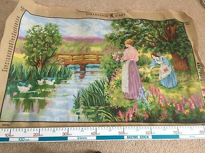 Collection D'art printed tapestry canvas No Wool Large 60x90cms Ladies River