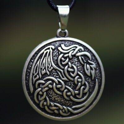 Valknut Odin 's Dragon Fire Symbol Norse celtic Pendant Necklace Viking Talisman