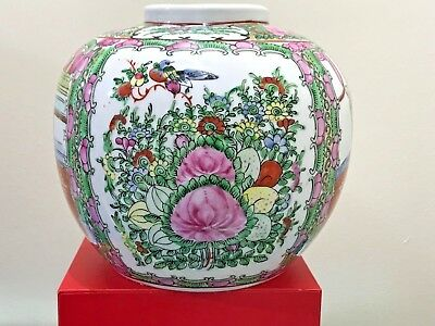 Chinese Famille Rose Medallion  Ginger Jar Pot Hand Painted