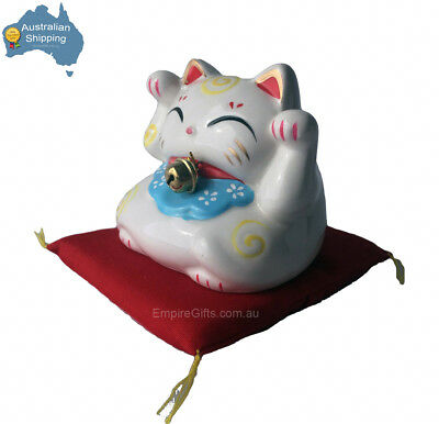 1 x Maneki Neko Welcoming Cat Money Box on Cushion 85mm