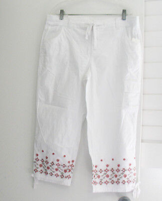 Style&Co. Womens Embroidered Cropped Cargo Capri Pants Bright White Sz 16 - NWT