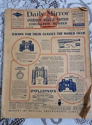 Overseas Daily Mirror May 20, 1937-king queen Coronation. Old vintage magazine