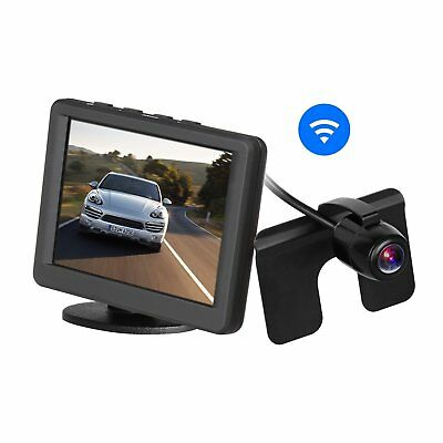 """Car Wireless Rear View Camera Monitor Kit 3.5"""" 165° Wide Angle License Plate Cam"""