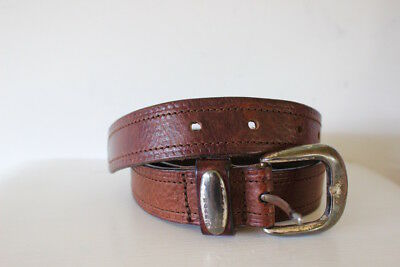 Genuine leather belt Fossil designer mens womens brown size small classic jeans