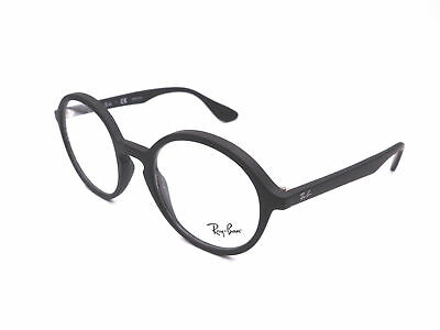 d52671234f Authentic RAY-BAN Round Rubber Black Eyeglasses RX7075 - 5364  NEW  49mm