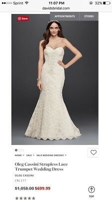 44374ca4e8 Davids Bridal OLEG CASSINI Ivory Strapless Trumpet Mermaid Wedding Dress  Size 0P