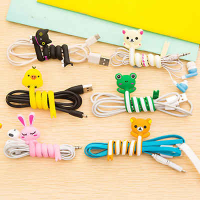 2x Cartoon Cable Winder Long Earphones Organizer Wire Cord Animal Wrap-Holder HK