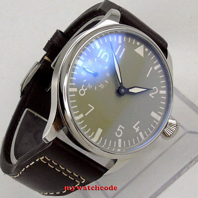 44mm PARNIS black gray dial luminous hand winding 6497 mechanical mens watch
