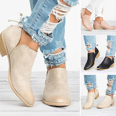 Women Ladies Low Heel Ankle Chunky Booties Round Toe Boots Zip Casual Shoes Size