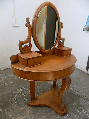 demi lune,victorian,dressing table,hall table,mirror,carved legs,antique,walnut