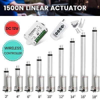 12V Linear Actuator 1500N 50mm-450mm Electric Wireless Motor Control DPDT Switch