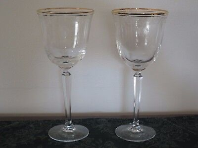 Lenox Classic Shell Etched Water Glasses Goblets w/ Gold Trim