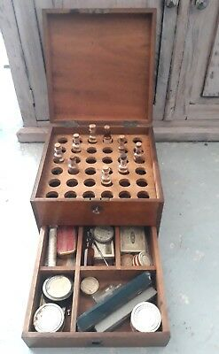 antique 1900's Doctor's wooden medical travel cabinet,with 30 medical items