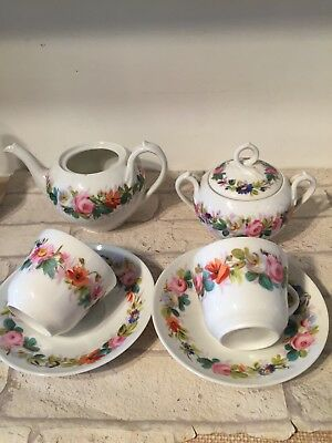 Vintage Antique Hand Painted Pretty Part Tea Set Pink Roses tea Pot Cups Saucer