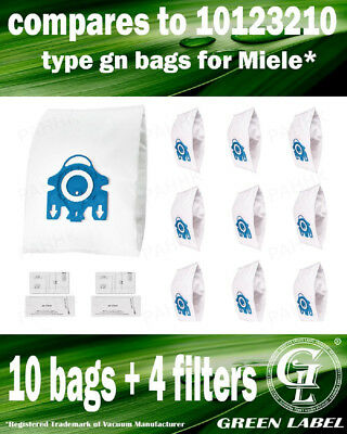 For Miele GN Filter Bags For Canister Vacuums (10 bags,4 filters).By Green Label