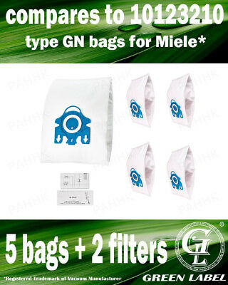 For Miele GN Filter Bags For Canister Vacuums (5 bags,2 filters). By Green Label