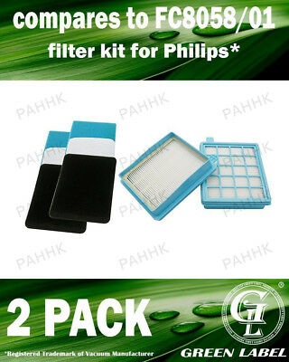 2Pack Filter Kit Philips PowerPro Active/Compact (OEM# FC8058/01) By Green Label
