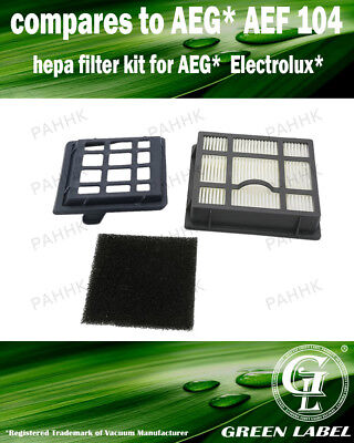 Hepa Filter Set for AEG/Electrolux/Tornado T8 (OEM# AEG AEF 104). By Green Label