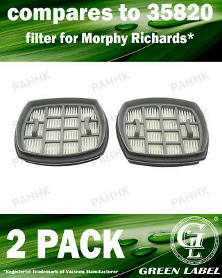 2 Pack Filter for Morphy Richards Supervac Handheld (OEM# 35820). By Green Label