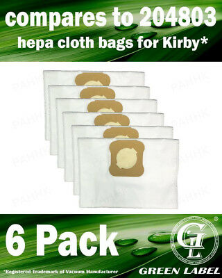 6 Pack Kirby Bags for All Generation Series Models (OEM# 204803). By Green Label