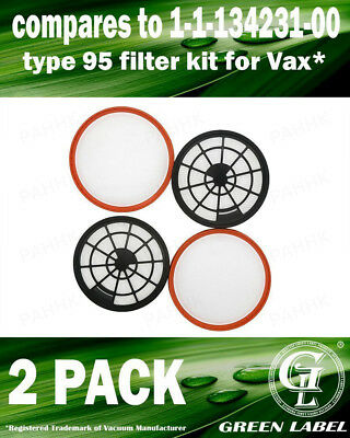2 Pack For Vax Filter Kit (Type 95). Genuine Green Label Product