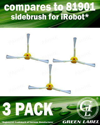 3 Side Brushes for iRobot Roomba 500/600/700 Series (OEM# 81901). By Green Label