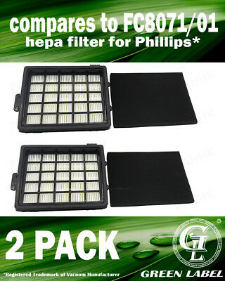 2Pack HEPA/Foam Filter Kit for Philips EasyLife (OEM# FC8071/01). By Green Label