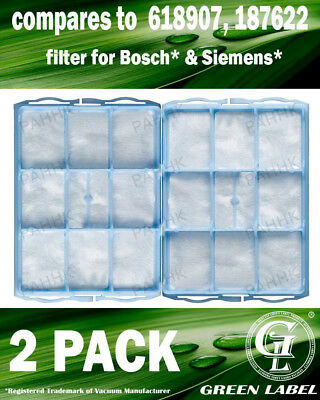 2 Pack Filter For Bosch/Siemens BSH618907T/618907/187622/VZ01MSF. By Green Label