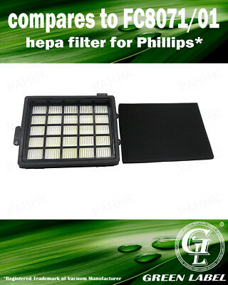 HEPA and Foam Filter Kit for Philips EasyLife (OEM# FC8071/01). By Green Label