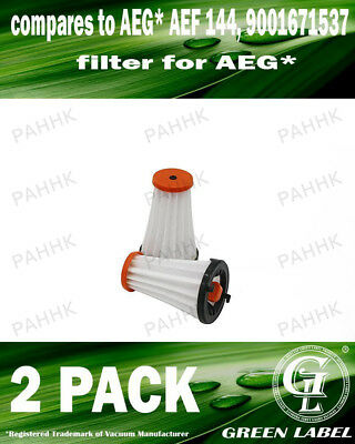 2 Pack Filter for AEG/Electrolux Rapido (OEM# AEF 144/EF144). By Green Label