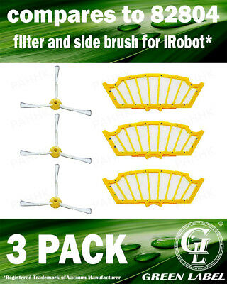 Green Label 3 Pack Replacement Parts Accessories Air Filters and Side Brushes...