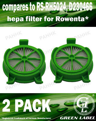 2 Pack Filter for Rowenta Powerline (OEM# RS-RH5024/D230466). By Green Label