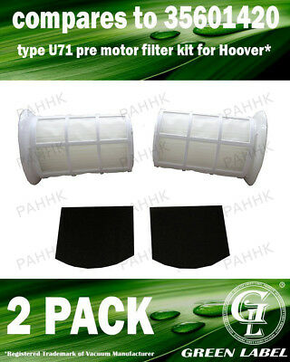 2Pack U71 Type Filter Kit for Hoover Spirit/Smart (OEM# 35601420) By Green Label