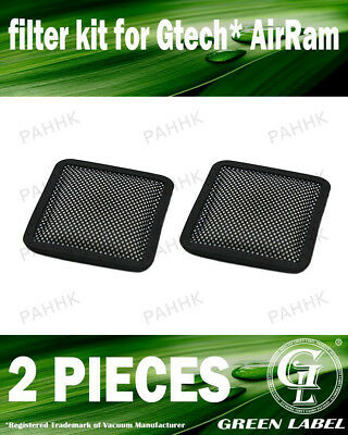 2 Pack Filter Kit for Gtech AirRam High-Power Cordless Vacuums. By Green Label